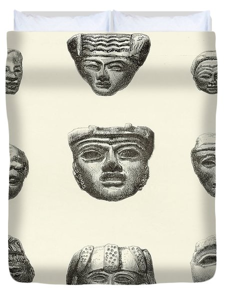 Stone Heads And Masks Found At Teotihuacan, Mexico Duvet Cover