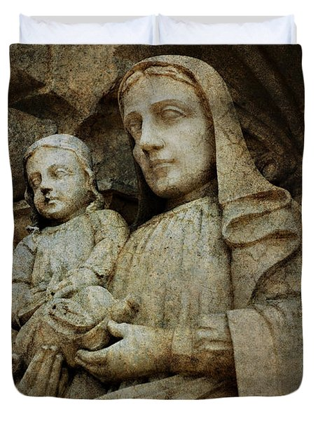 Stone Madonna And Child Duvet Cover