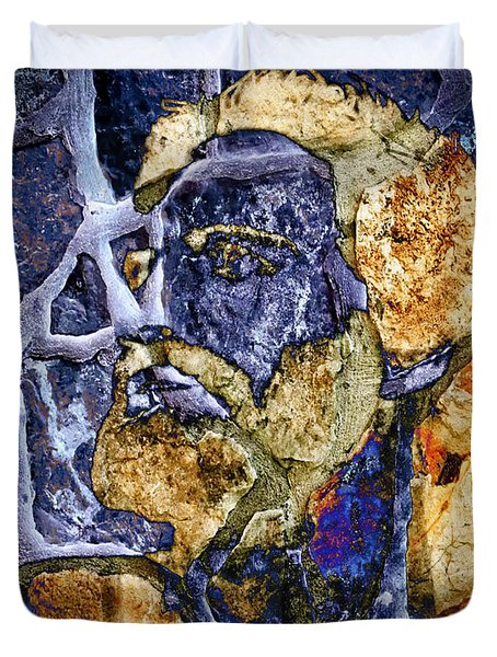 Duvet Cover featuring the photograph Stone Man by Pennie  McCracken