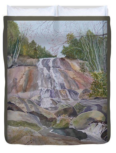 Duvet Cover featuring the painting Stone Mountain Falls April 2013 by Joel Deutsch