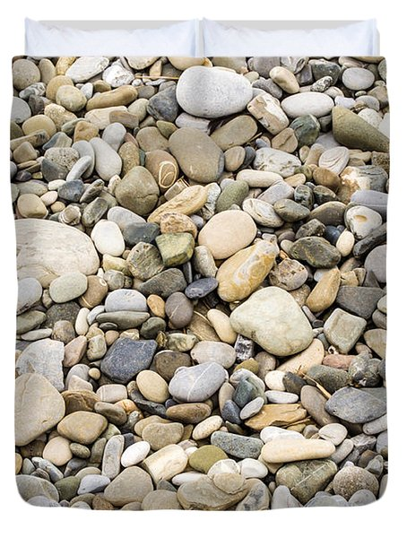 Duvet Cover featuring the photograph Stone Pebbles Patterns by John Williams