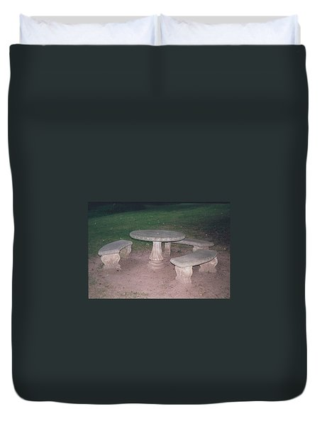 Stone Picnic Table And Benches Duvet Cover