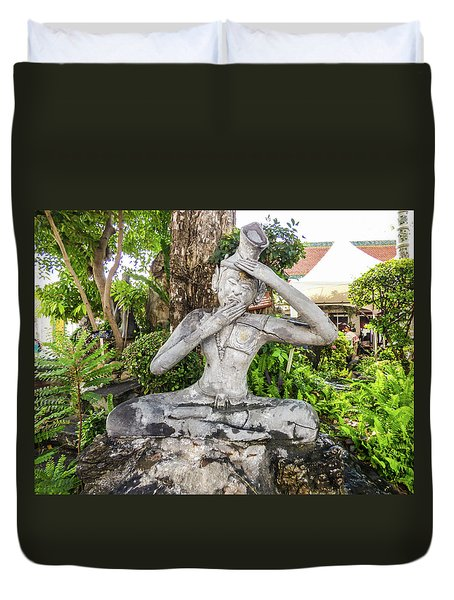 Stone Statue Depicting A Thai Yoga Pose At Wat Pho Temple Duvet Cover