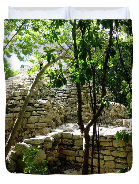 Duvet Cover featuring the photograph Stone Steps In The Jungle by Francesca Mackenney