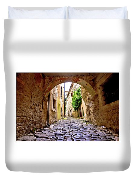 Stone Town Of Groznjan Old Street  Duvet Cover by Brch Photography