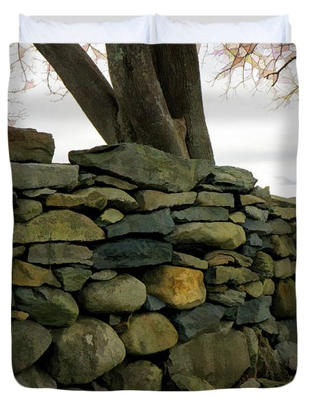 Stone Wall, Colt State Park Duvet Cover