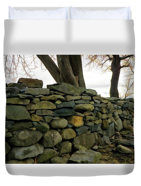Stone Wall, Colt State Park Duvet Cover by Nancy De Flon