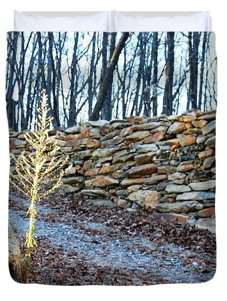 Stone Wall Ga Mountain 1 Duvet Cover by Angela Murray