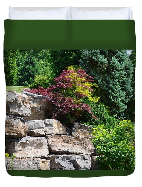 Duvet Cover featuring the photograph Stone Wall by Kathleen Stephens