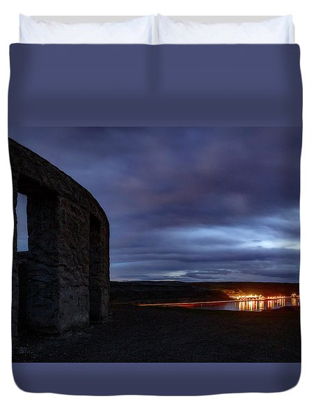 Duvet Cover featuring the photograph Stonehenge And The Columbia by Cat Connor