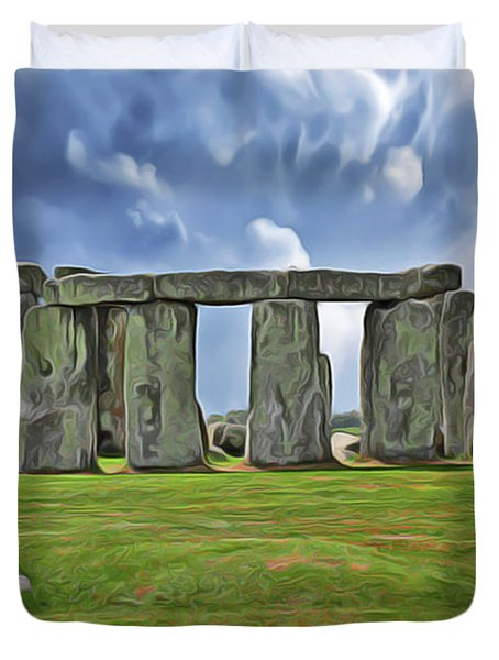 Duvet Cover featuring the digital art Stonehenge by Harry Warrick