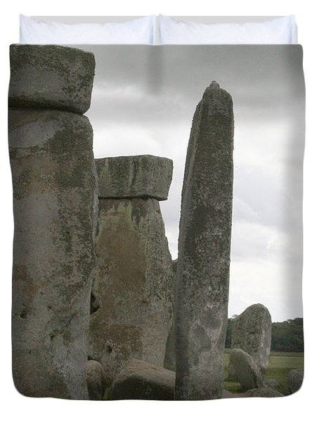 Duvet Cover featuring the photograph Stonehenge Side Pillars by Mary Mikawoz