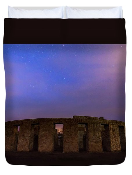 Duvet Cover featuring the photograph Stonehenge Sunrise by Cat Connor