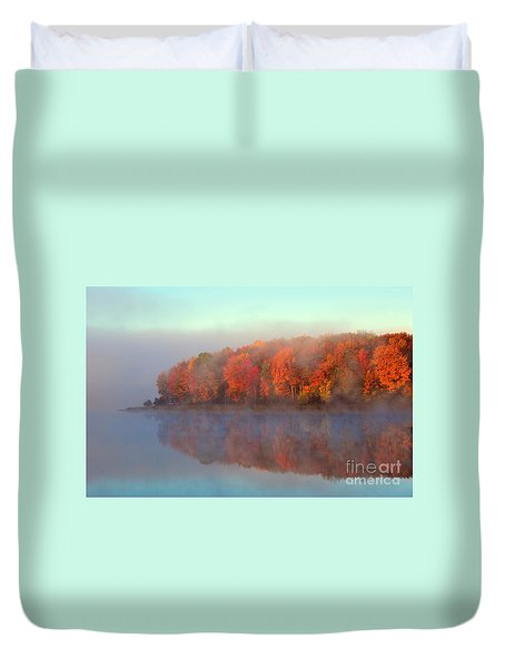 Stoneledge Lake Pristine Beauty In The Fog Duvet Cover by Terri Gostola