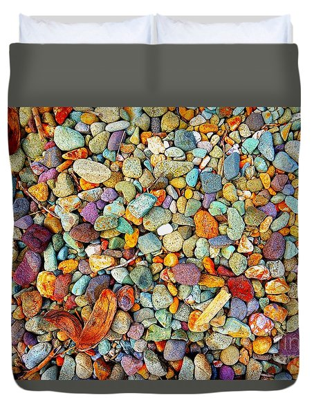 Stones And Barks On Beach Duvet Cover