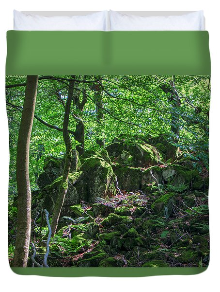 Stones In A Forest In Vogelsberg Duvet Cover