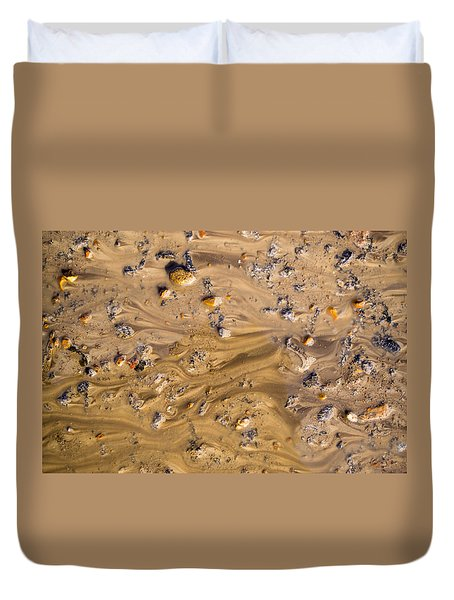 Duvet Cover featuring the photograph Stones In A Mud Water Wash by John Williams