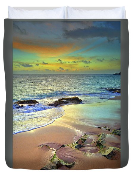 Duvet Cover featuring the photograph Stones In The Sand At Sunset by Tara Turner