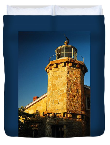 Duvet Cover featuring the photograph Stonington Light by James Kirkikis