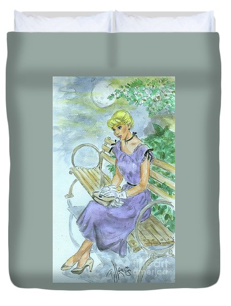 Duvet Cover featuring the painting Stood Up by P J Lewis