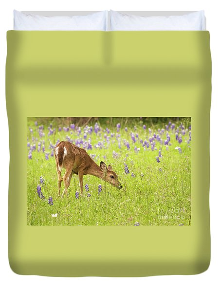 Stop And Smell The Bluebonnets. Duvet Cover