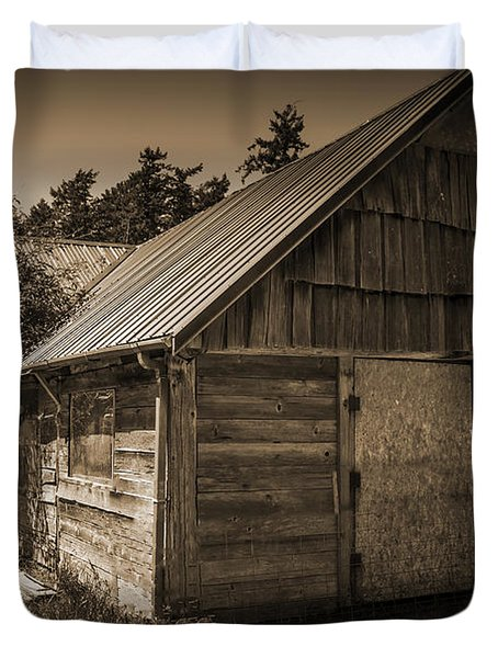 Storage Shed In Sepia Duvet Cover