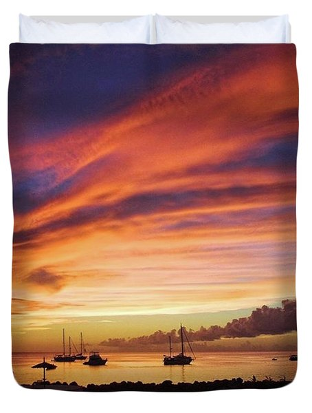 Store Bay, Tobago At Sunset #view Duvet Cover by John Edwards