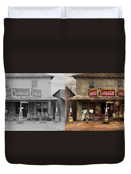 Duvet Cover featuring the photograph Store - Grocery - Mexicanita Cafe 1939 - Side By Side by Mike Savad