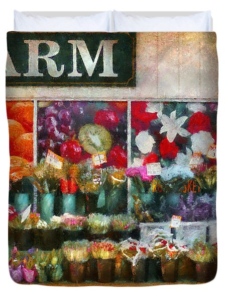Store - Westfield Nj - The Flower Stand Duvet Cover by Mike Savad