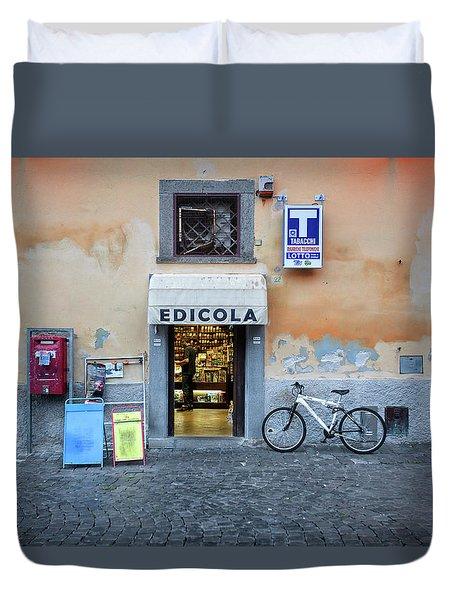 Storefront In Rome Duvet Cover