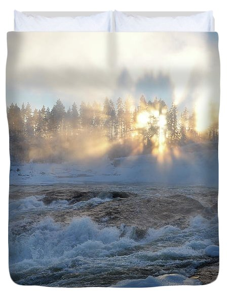 Storforsen, Biggest Waterfall In Sweden Duvet Cover