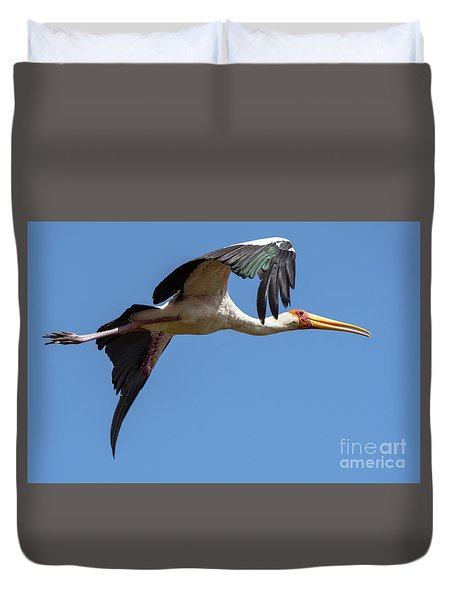Duvet Cover featuring the photograph Stork In Flight by Pravine Chester