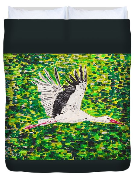Stork In Flight Duvet Cover
