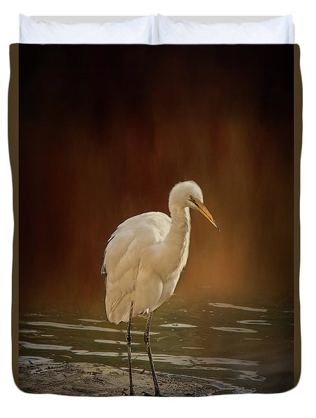 Duvet Cover featuring the photograph Stork On A Rock by Elaine Teague