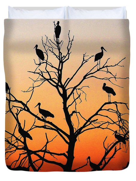 Storks In The Evening Sun Light Duvet Cover