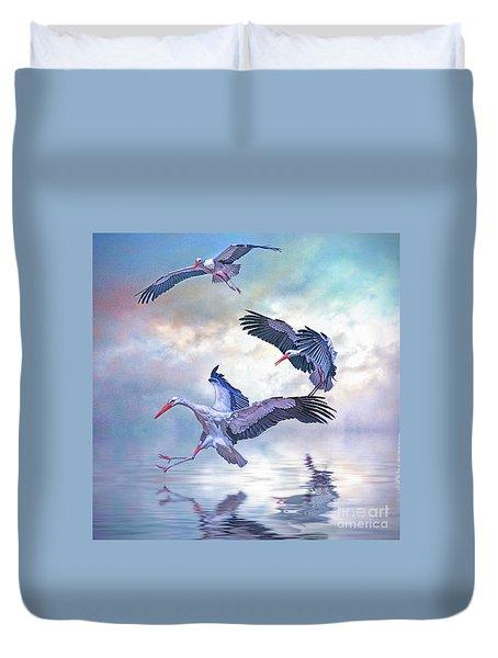 Storks Landing Duvet Cover by Brian Tarr