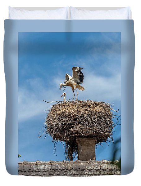 Storks Nesting In Munster Duvet Cover