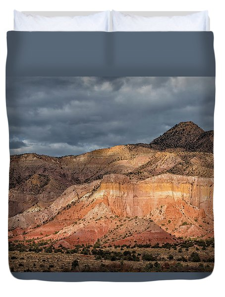 Storm Above Ghost Ranch Mountains Duvet Cover
