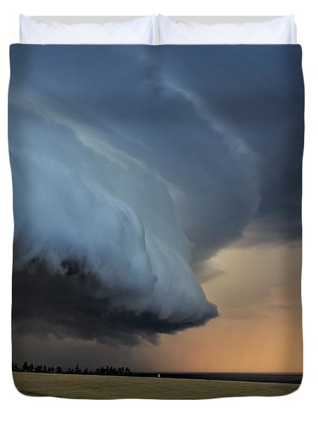 Storm Approaching Cape Tryon Lighthouse Duvet Cover