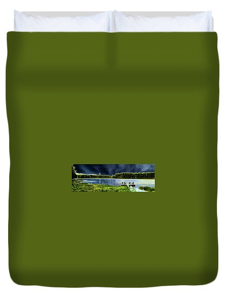 Duvet Cover featuring the photograph Storm Approaching The Pond by David Patterson