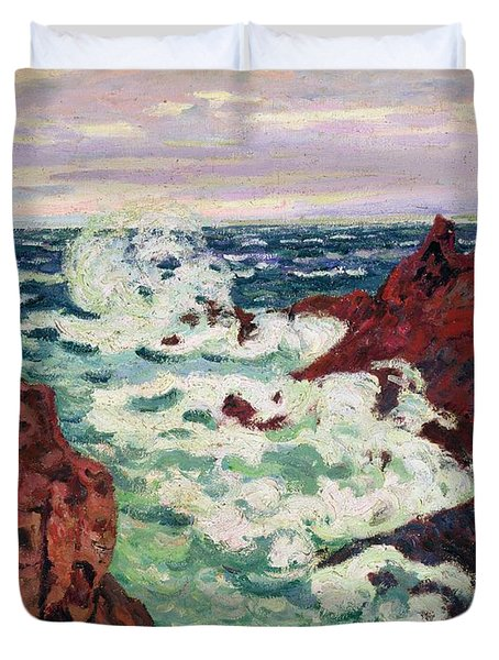 Storm At Agay Duvet Cover by Jean Baptiste Armand Guillaumin