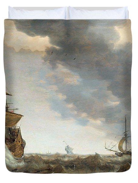 Storm At Sea Duvet Cover by Bonaventura Peeters