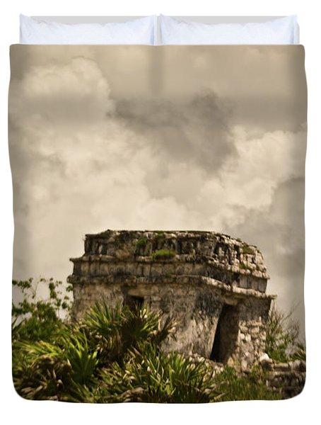 Storm At Talum Ruins Mexico Duvet Cover