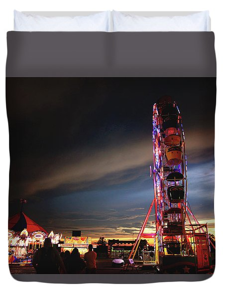 Duvet Cover featuring the photograph Storm At The County Fair by Toni Hopper