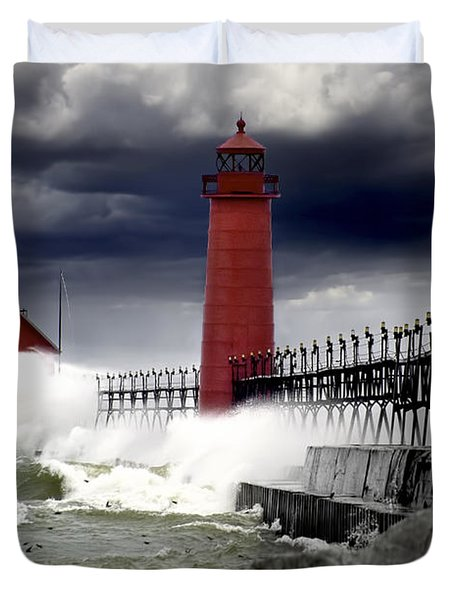 Storm At The Grand Haven Lighthouse Duvet Cover by Randall Nyhof