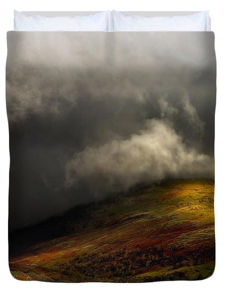 Storm Brewing Over Hawkshead Duvet Cover by Meirion Matthias