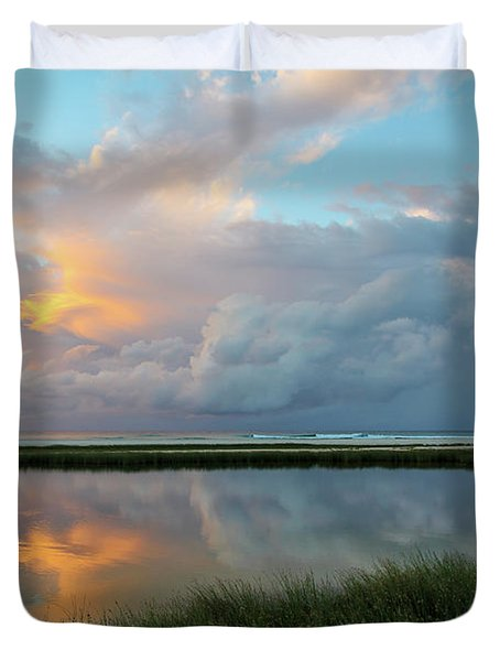 Storm Cloud Reflections At Sunset Duvet Cover