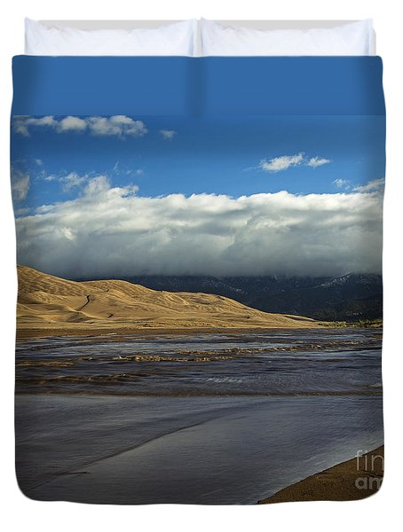 Storm Clouds Great Sand Dunes National Park Duvet Cover by Nature Scapes Fine Art