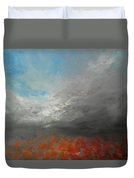 Duvet Cover featuring the painting Storm Clouds by Jane See