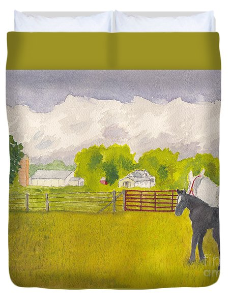 Storm Clouds Mare And Colt At Sunrise Duvet Cover